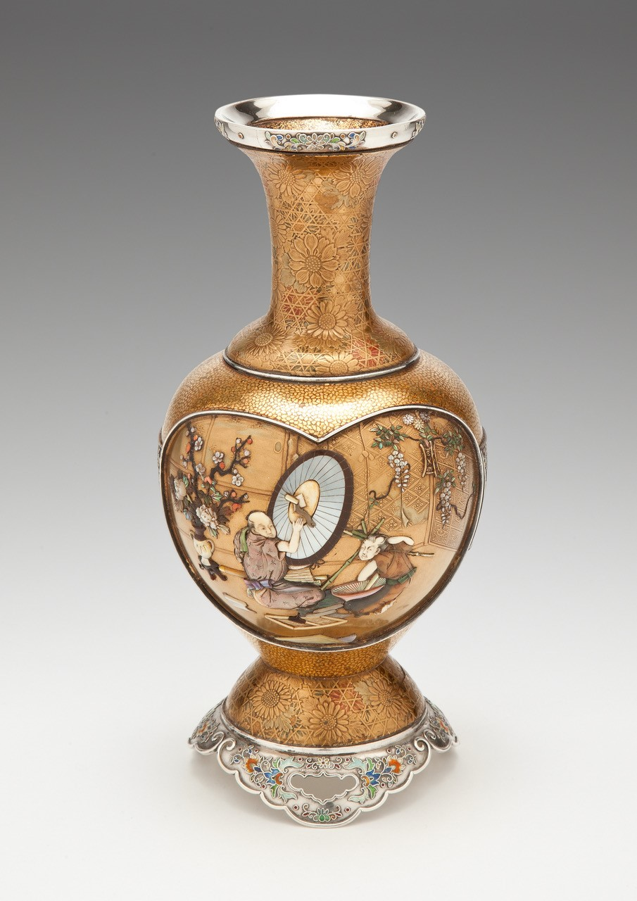Japanese gold lacquer vase