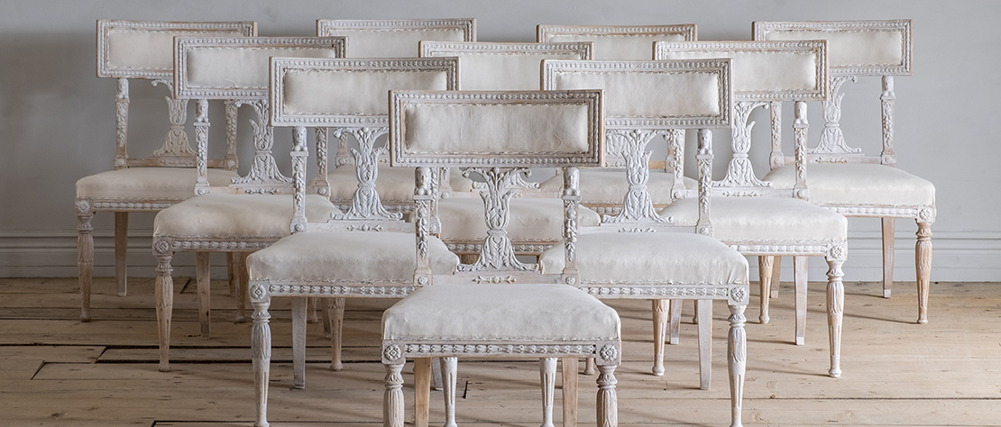 Set of Ten 19th Century Gustavian Dining Chairs