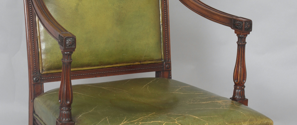 Very fine George III period mahogany open arm chair in the neo-classical style