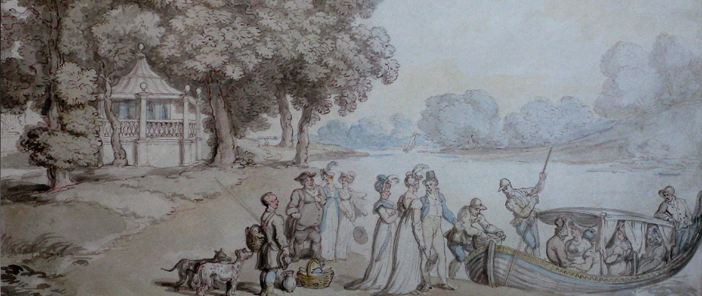 'Embarking for a picnic on the Thames' by Thomas Rowlandson 1756-1827