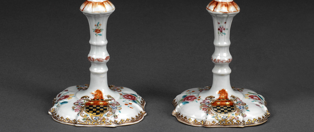 Pair of Candlesticks with Arms Attributed to Bonwick (6457)