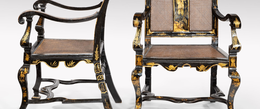 Pair of William and Mary japanned and lacquered armchairs. (33573)