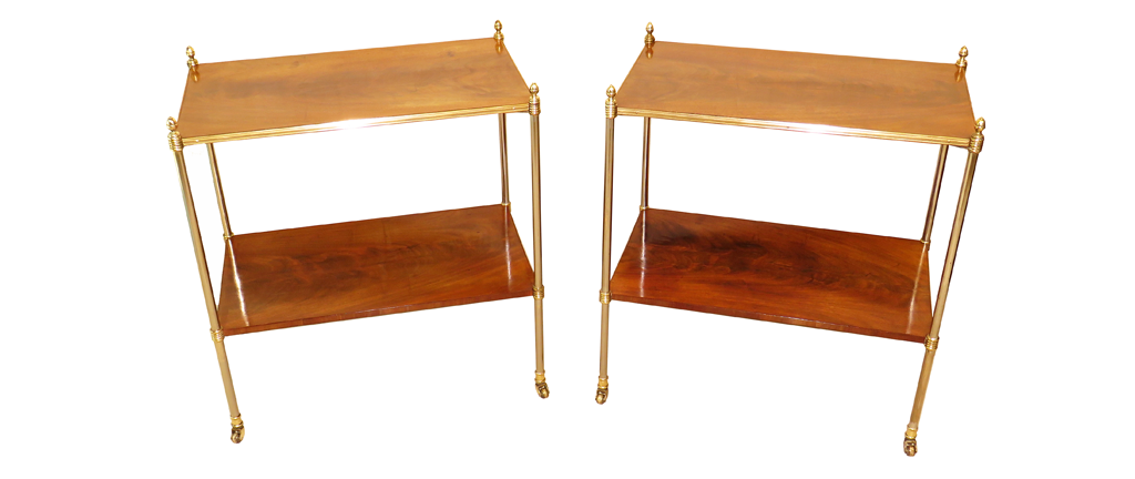 Fine Pair Of Early 20th Century Regency Style Mahogany & Metal Etagere Whatnots (36580)