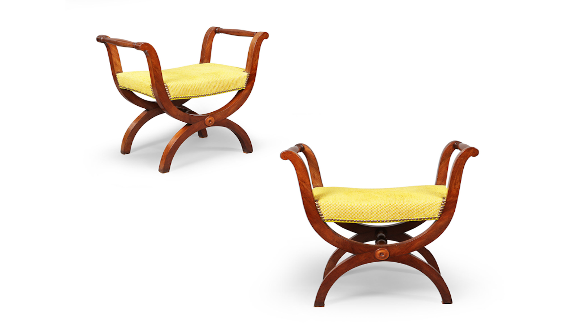A pair of Restoration mahogany tabourets (35362)