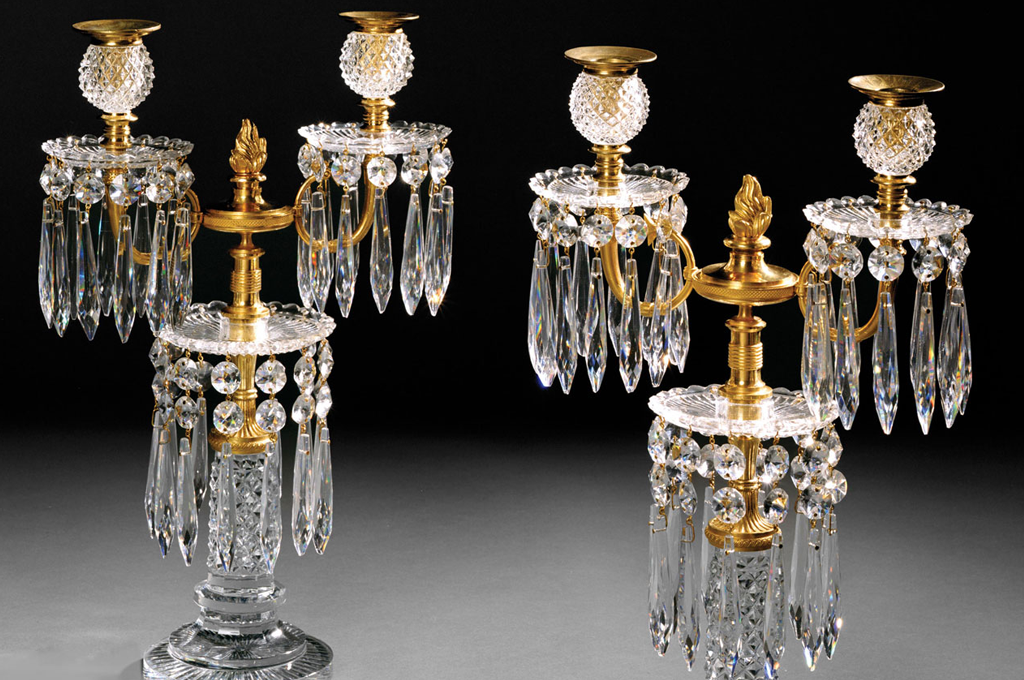 A Pair of Regency Period Cut Glass Candelabra (41573)