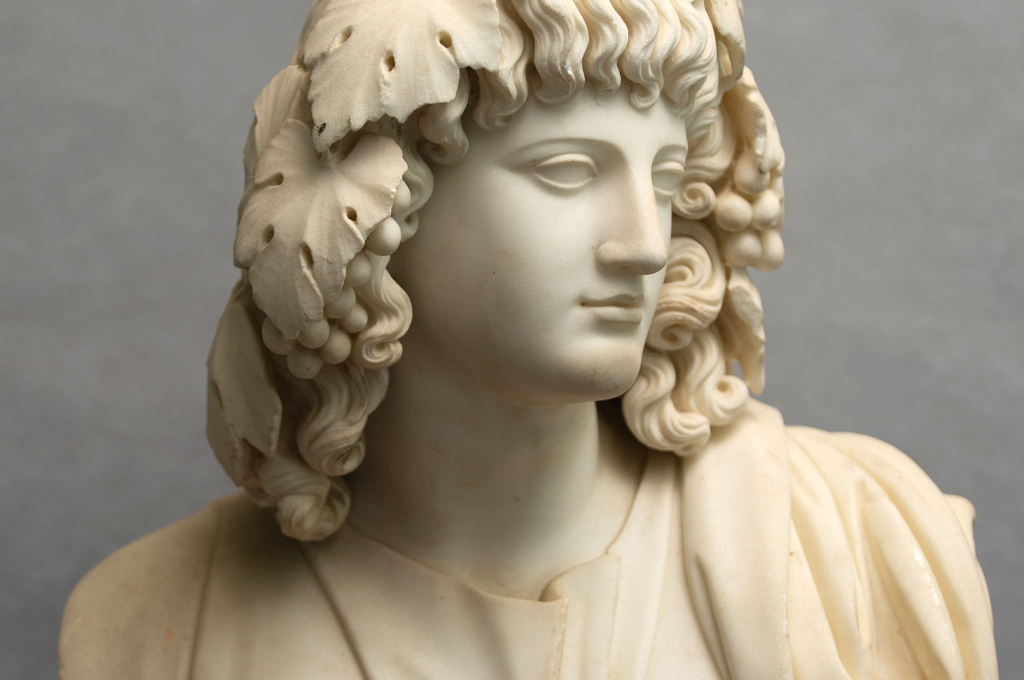 A 19th century statuary marble bust of Bacchante by Leandro Biglioschi (12365)