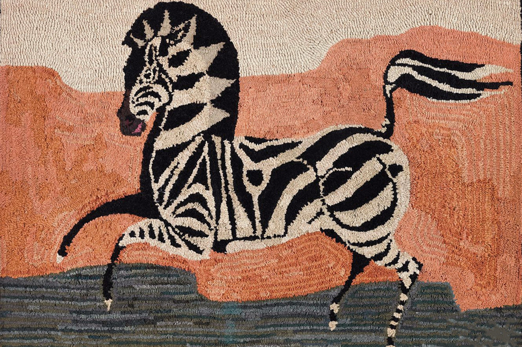 """American Hooked Rug Depicting a Zebra, Early 20th Century (52430)"""