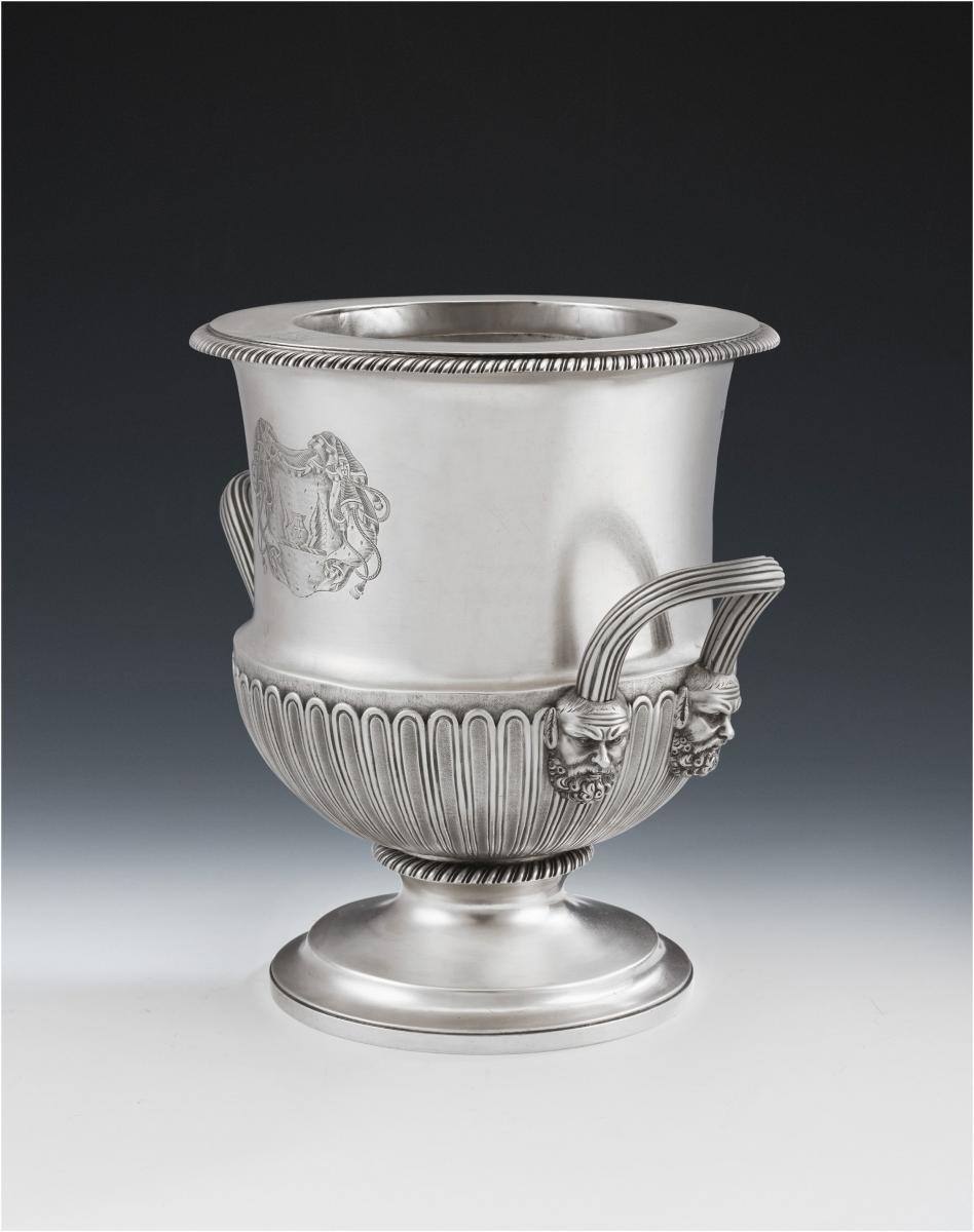 Rare George III Sterling Silver Wine Cooler Made in London in 1820 by William Eaton
