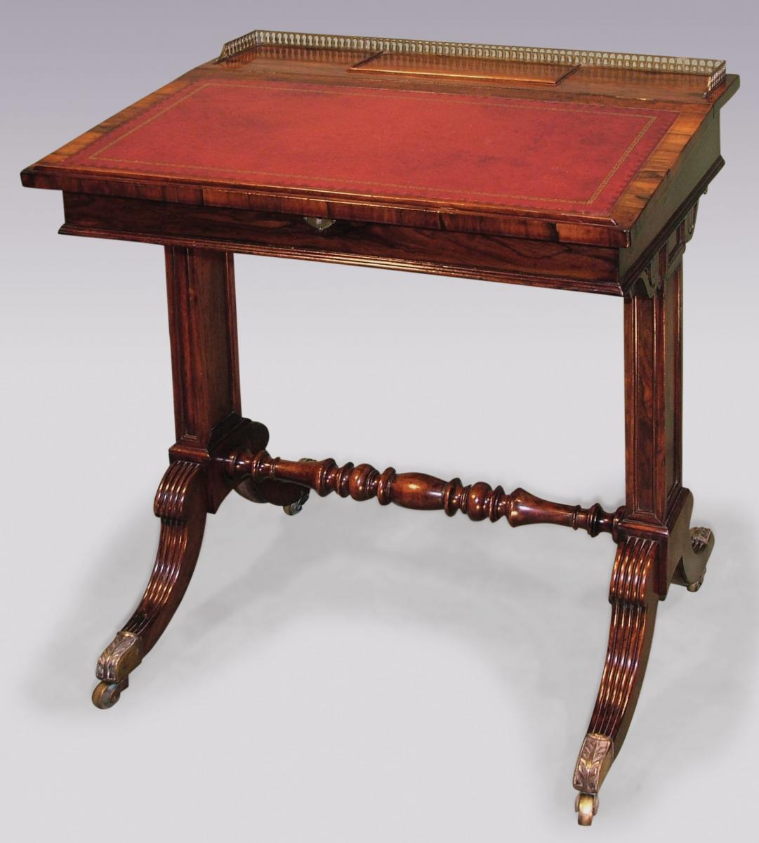 Antique Regency Period Rosewood Writing Desk of Small Proportions