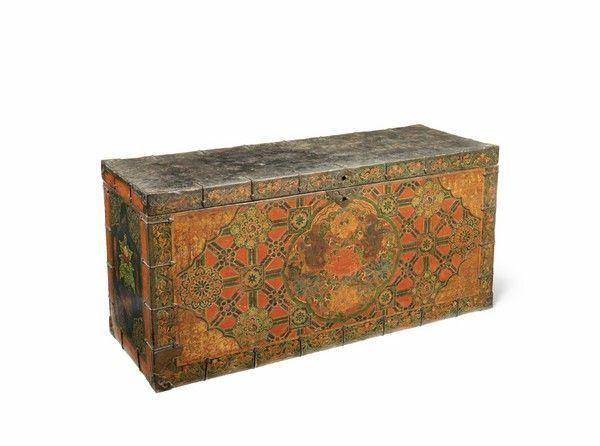 A Tibetan Painted 'Kati Rimo' Design Polychrome Chest