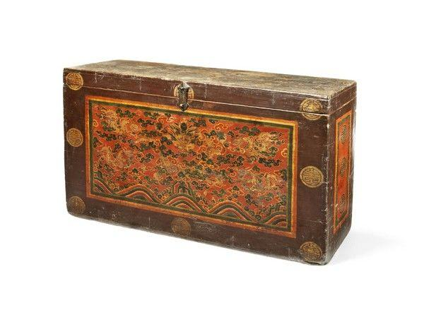 A Tibetan Painted 'Kyungbur' Polychrome Gessoed Chest