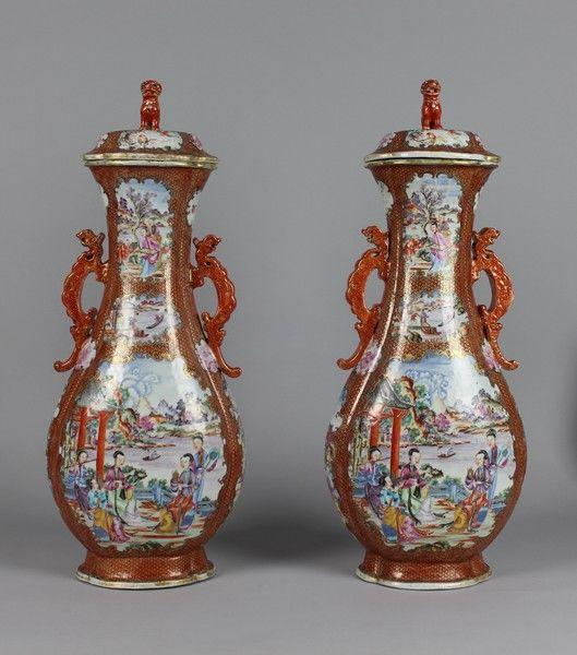 Chinese Porcelain 'Music Party' Vases and Covers, Qing Dynasty, Qianlong Period