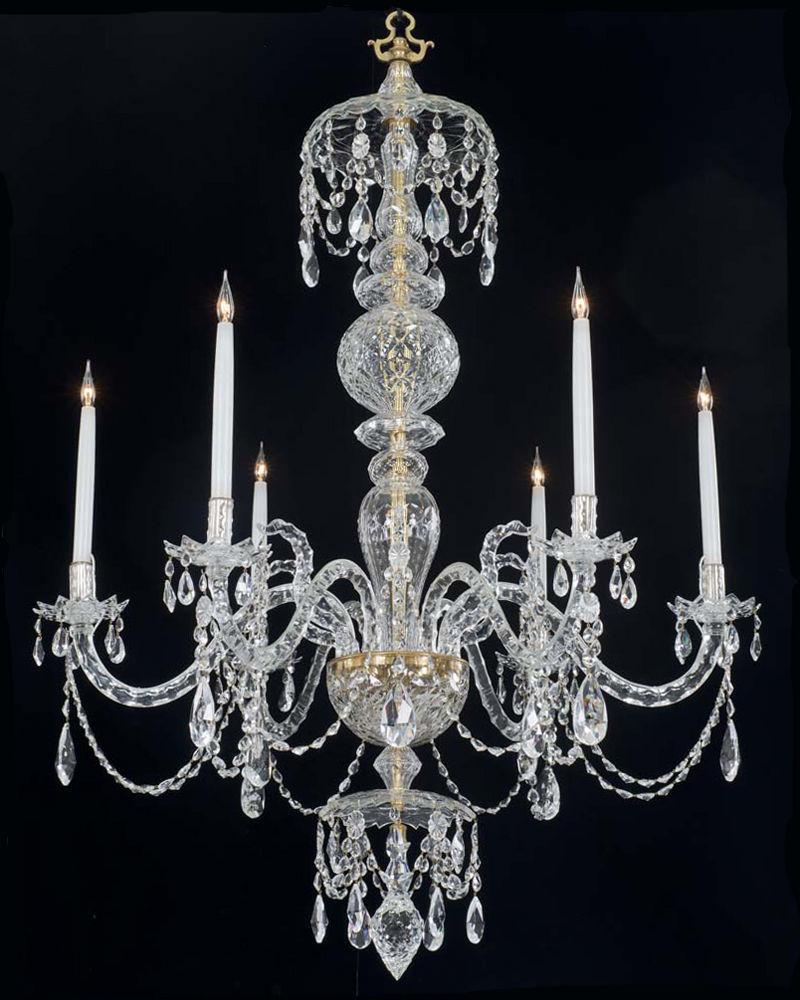 A Fine Quality Six Light Crystal Chandelier in Adam Style