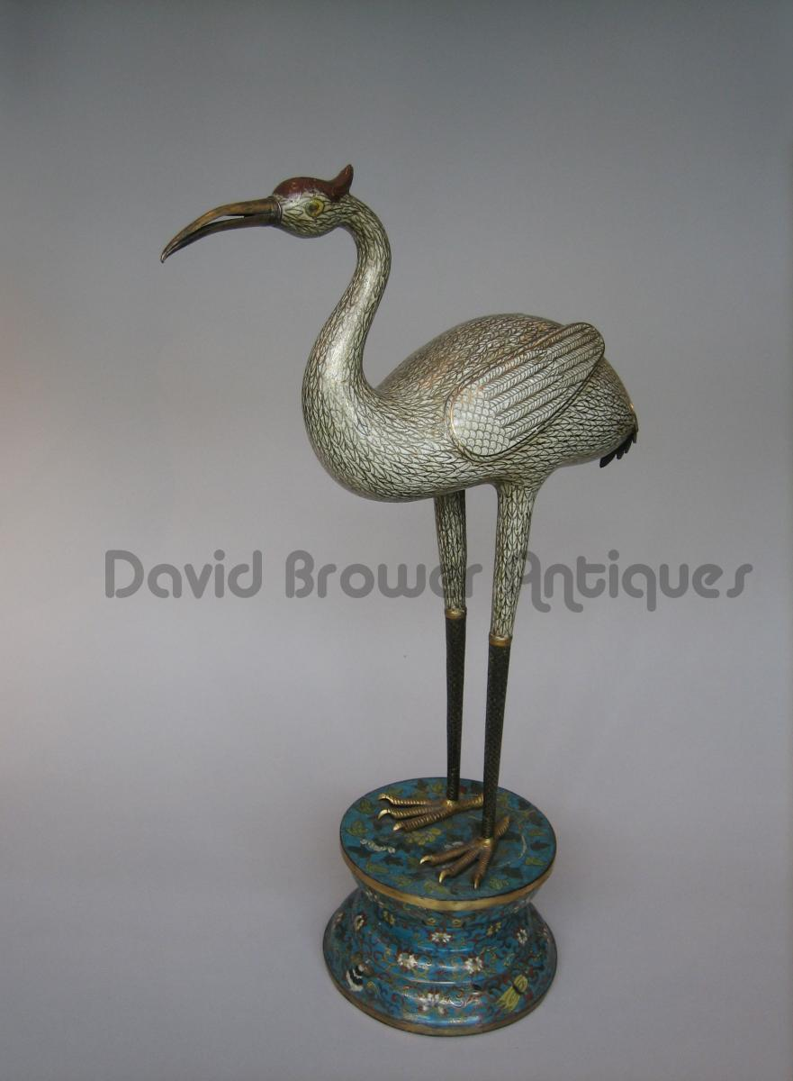 Large Chinese cloisonné figure of a crane