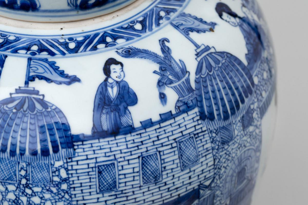 A CHINESE BLUE AND WHITE KANGXI 'LADIES' JAR AND COVER