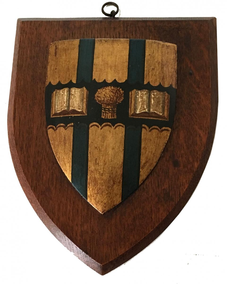 Oak shield with painted armorial crest