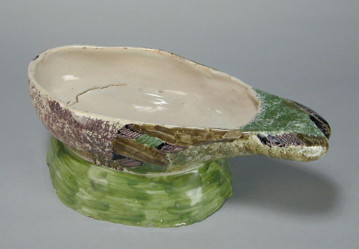 Faience model of a duck tureen and cover