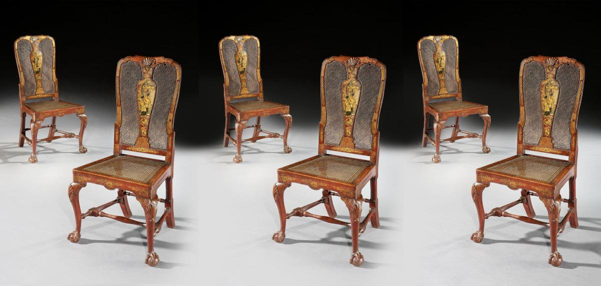 Giles Grendey - Extremely Rare Set of Six Eighteenth Century Scarlet Japanned Side / Dining  Chairs