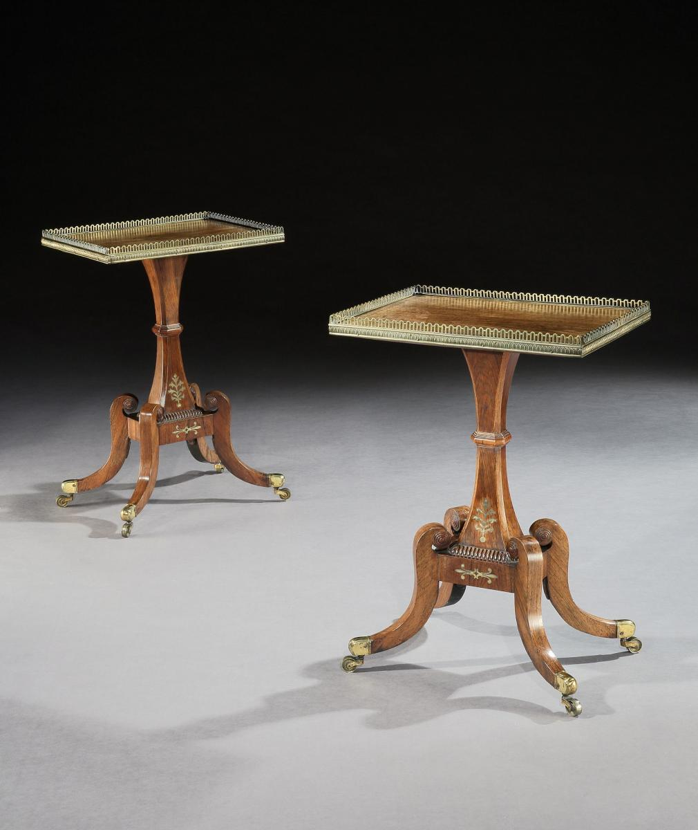 A Rare Pair of Regency Period Rosewood Sidetables England circa 1820