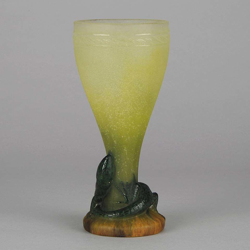 "Early 20th Century Pate-de-Verre glass ""Lizard Vase"" by Amalric Walter"