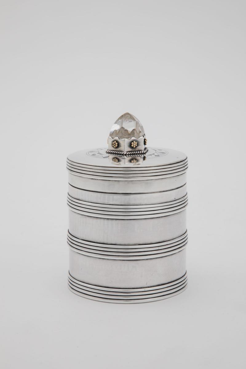 Art Deco silver canister by H.G. Murphy at his Falcon Studio