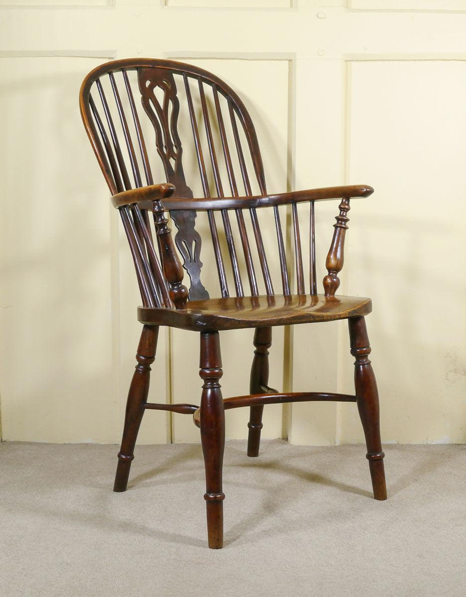 A High Back Yew Wood Windsor Armchair