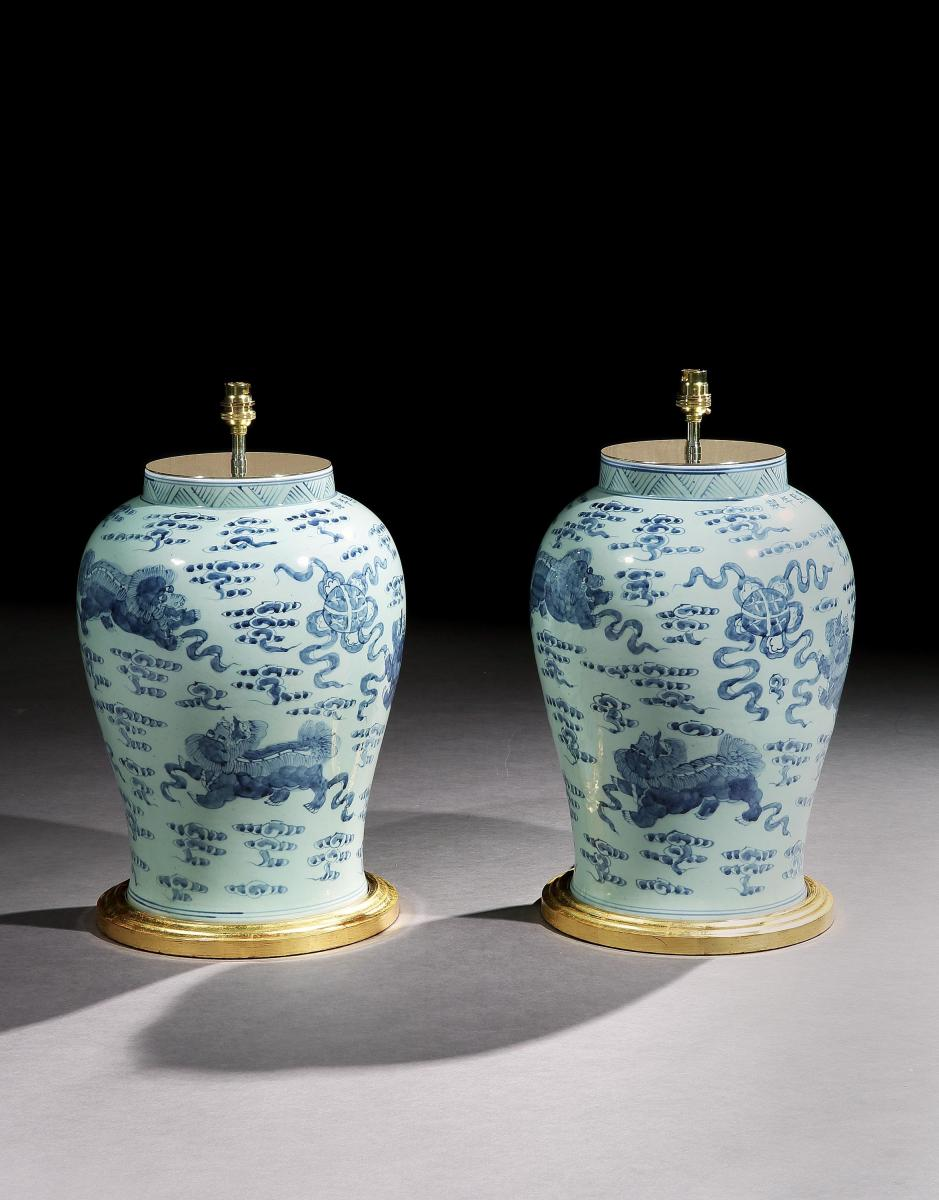 A Pair of Blue and White Chinese Vases Mounted as Lamps