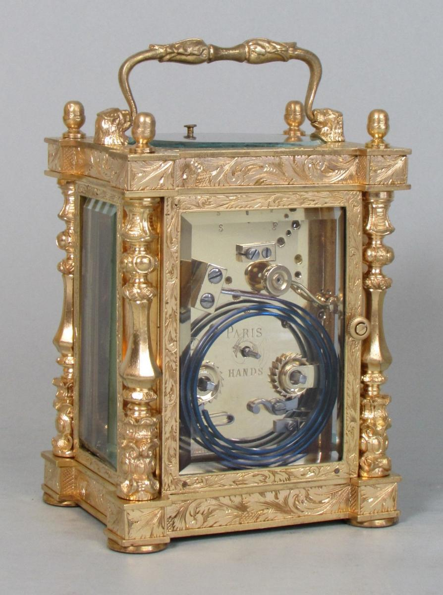 Drocourt Empire Style Carriage Clock rear