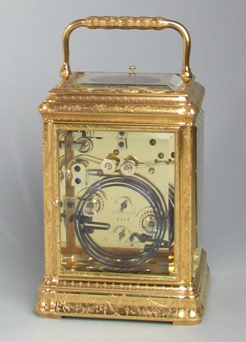 Soldano engraved gorge carriage clock rear
