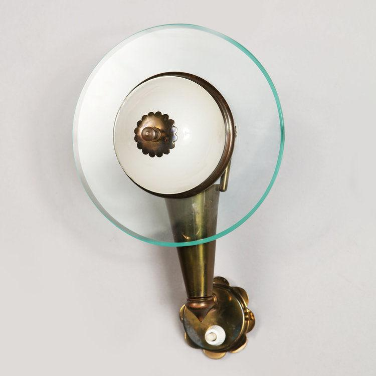 A Pair of Brass and Glass Wall Lights in the manner or Fontana Arte
