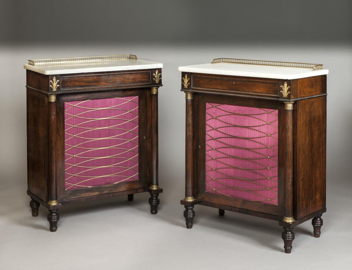 Pair of English Antique Late Regency Period Rosewood Cabinets