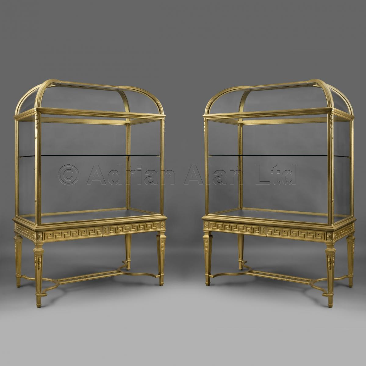 Pair of Giltwood Display Cabinets ©AdrianAlanLtd