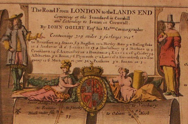 A road map from Britannia,1675/6. No 25. The road from London to the Lands End, showing Hampton Court to Newbury
