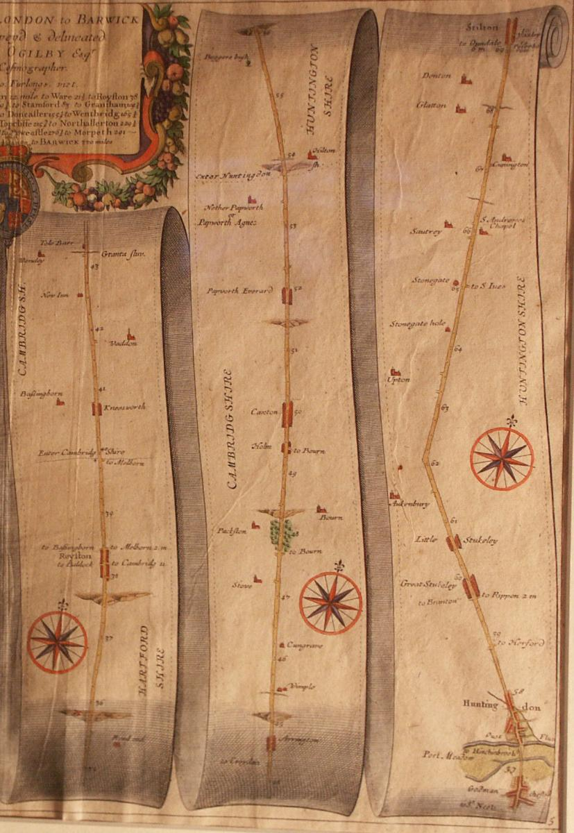 A road map from Britannia,1675/6. No 5. The Road from London to Barwick : showing London to Stilton