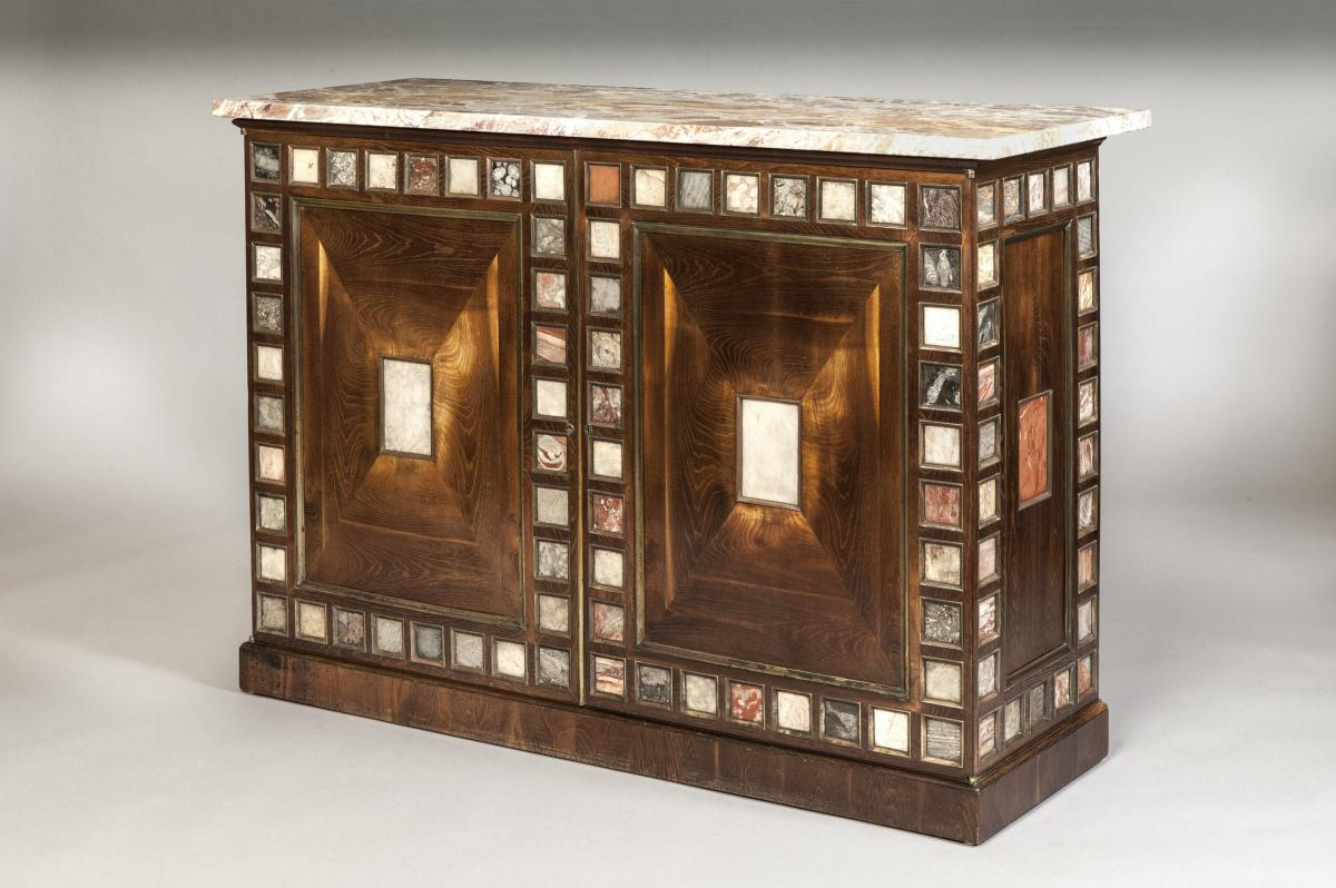 Important and Extremely Rare Georgian Period Mulberry Speciman Marble Collectors Cabinet