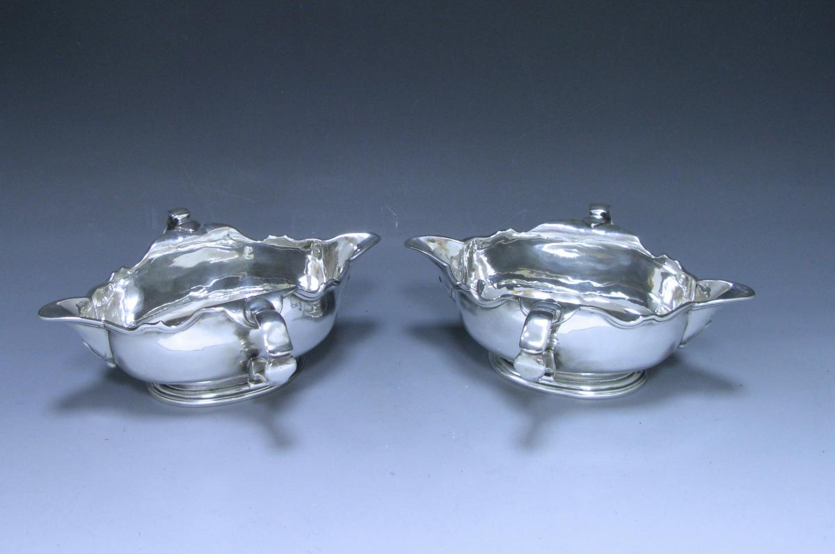 Pair of George II double- lipped Sauce Boat