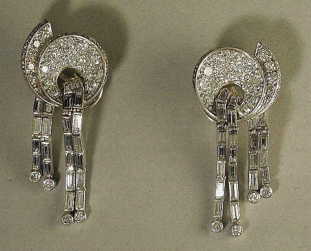 Platinum & Diamond Earrings c1940