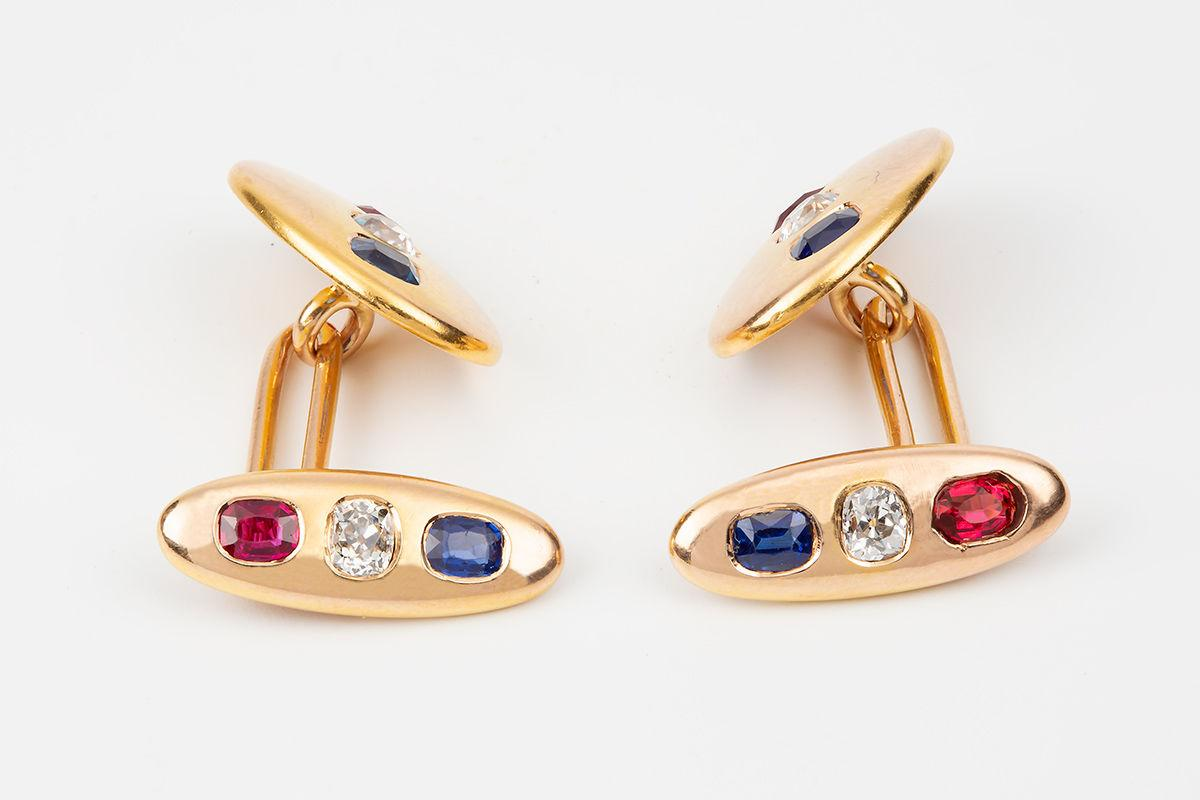 Antique Cufflinks in 18 Carat Gold with Diamond, Ruby & Sapphire, English circa 1900