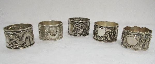 Selection of Chinese Silver Napkin Rings