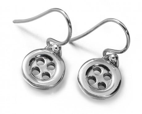 Sterling Silver Button Small Srop Earrings