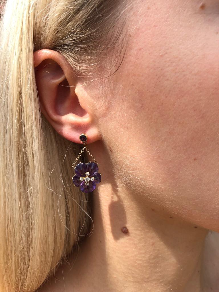 Antique Amethyst and Diamond Pansy Flower Earrings, English circa 1875