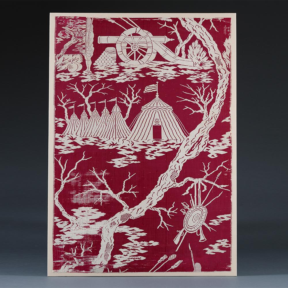 An 18th century red and white silk panel