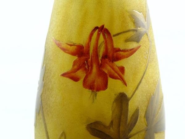 Daum acid etched and enamelled cameo glass vase with a design of Aquilegia flowers and leaves