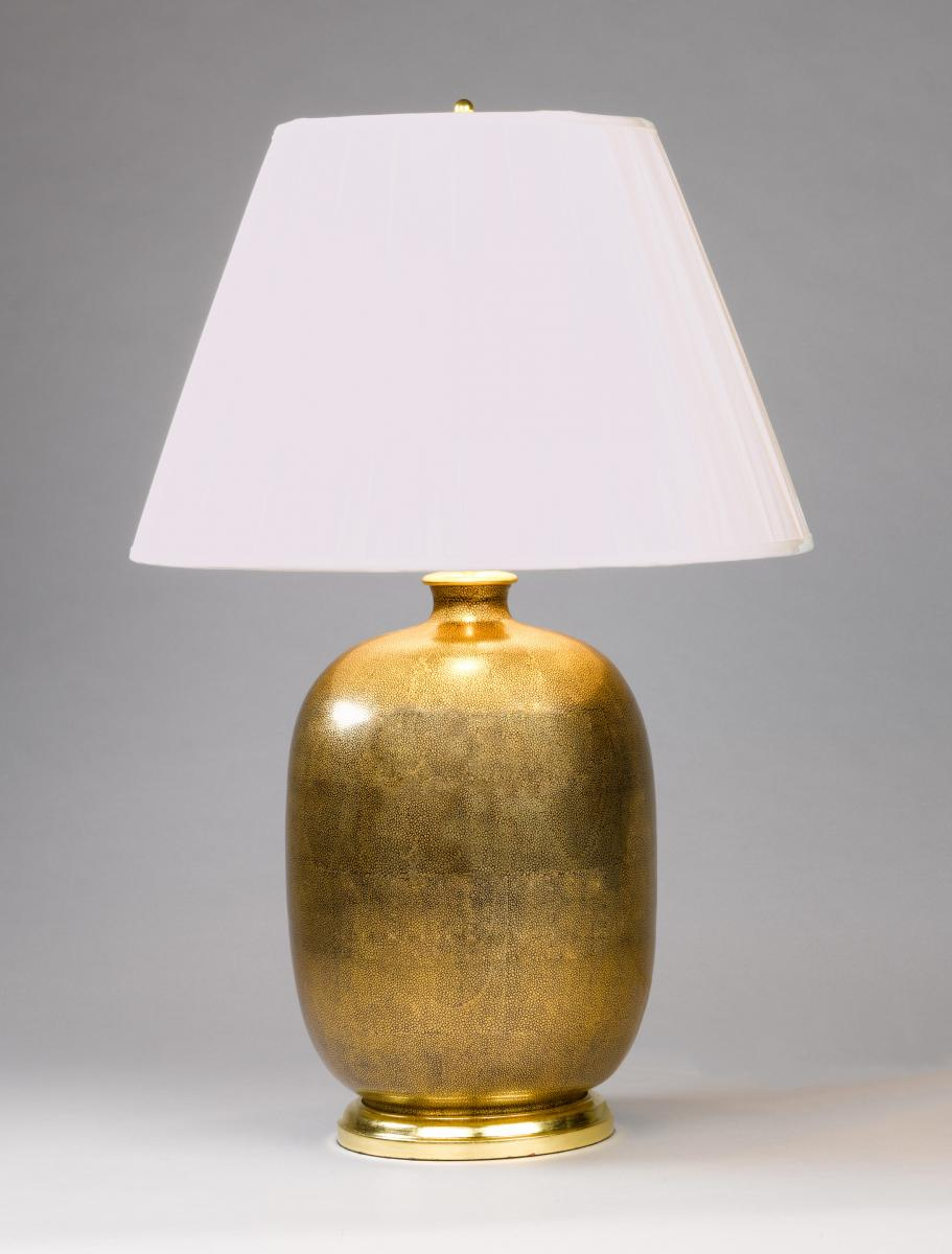 A Gold Shagreen Vase Lamp