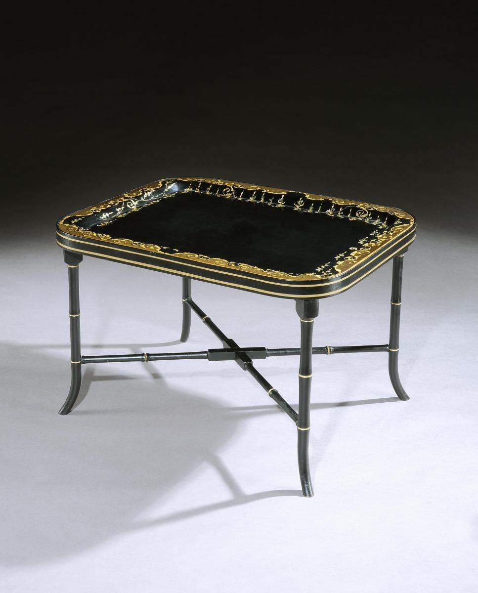 A Regency Papier Mache Tray on Stand
