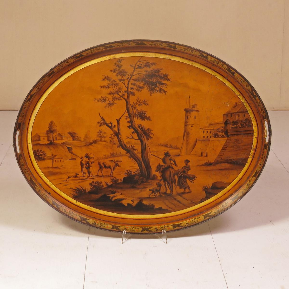 An Early 19th Century Painted Toleware Tray