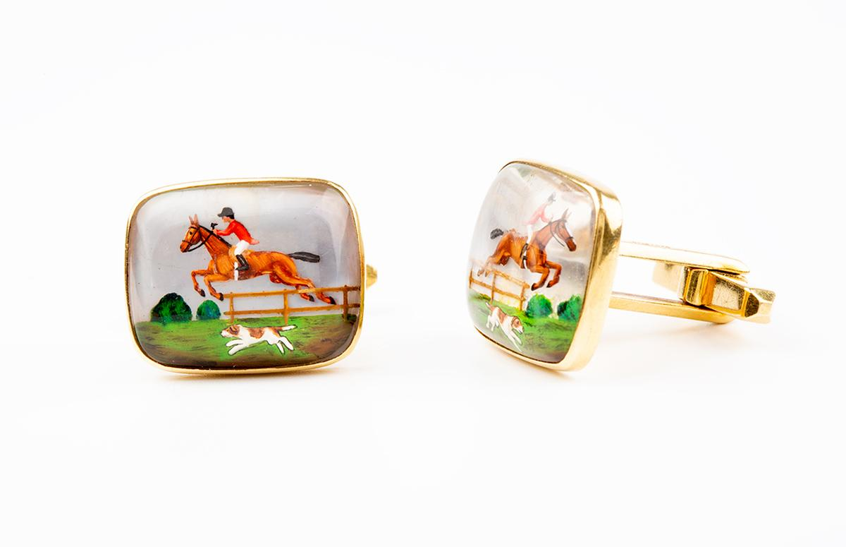 Equestrian Cufflinks of a Hunting Scene in Crystal mounted in Gold, English circa 1960