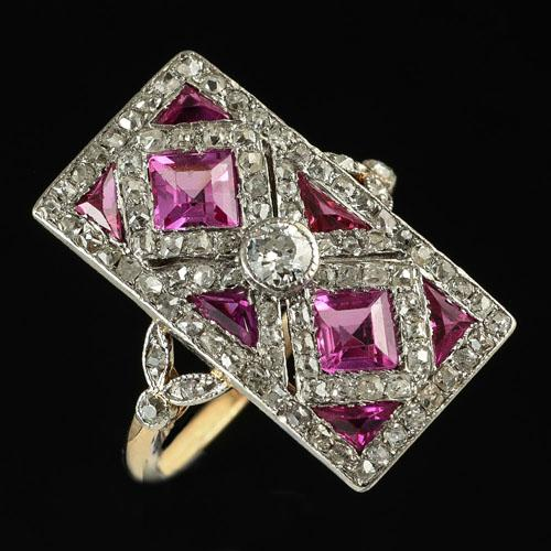 Art Deco pink sapphire and ruby diamond ring