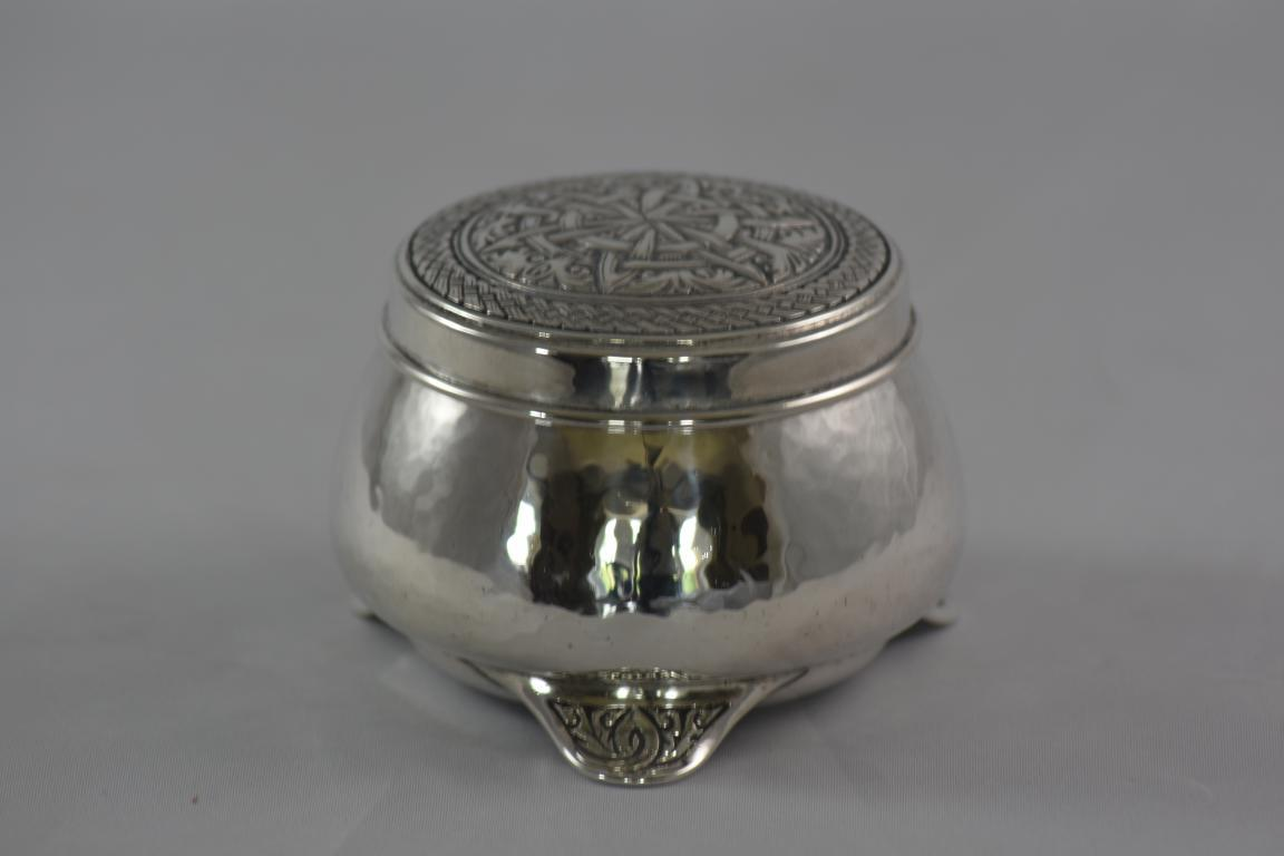 Arts and Crafts silver lidded pot designed by Bernard Cuzner for Liberty and Co