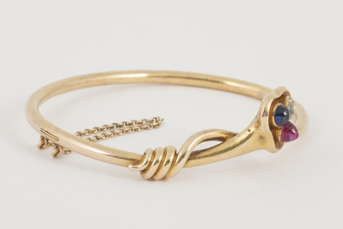 Antique Bangle 18 Carat Gold, Old Cut Diamond, Burma Ruby, Sapphire, *English circa 1890